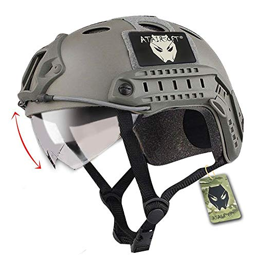 ATAIRSOFT Airsoft Helmet 1 ATAIRSOFT PJ Type Tactical Fast Helmet with Visor Goggles Version FG