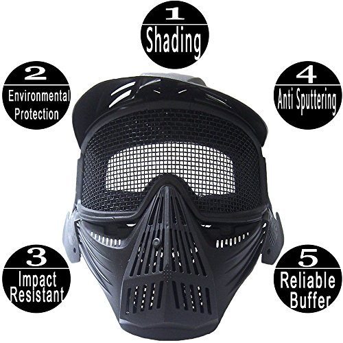 RNTOP_Hat Airsoft Mask 4 Balaclava Tactical Airsoft Full Face Mask Safety Metal Mesh Goggles Protection CS