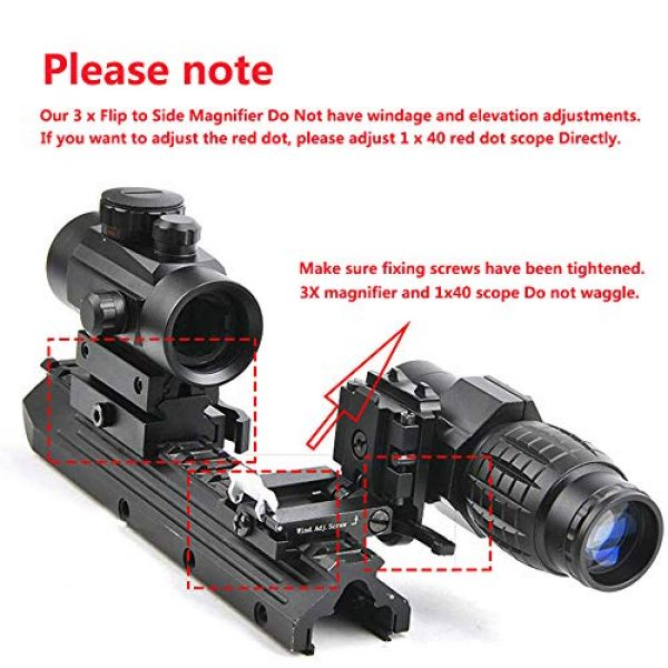 Luger Airsoft Gun Sight 5 Luger Tactical 1x40mm Red Green Dot Sight + 3X Magnifier Scope with Quick Detach Flip to Side + QD 5 Slots Rail Riser Combo Kit