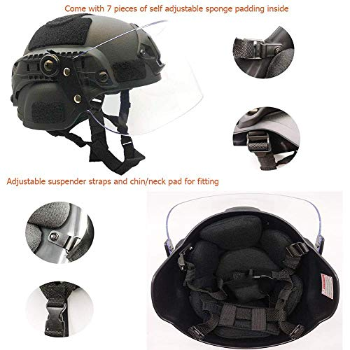 Tactical Area Airsoft Helmet 6 Tactical Area Airsoft Mich 2000 Quick Helmet with NVG Bracket and Goggles.