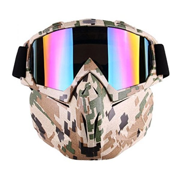 Outamateur Airsoft Mask 1 Outamateur Motorcycle Goggles Mask - Tactical Glasses with Detachable Mask Adjustable Windproof Outdoor Paintball Airsoft Mask Face Shield for Kids Youth Men Women