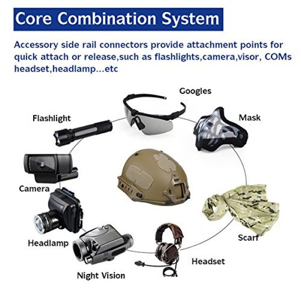 Adjustable ABS Helmet with Side Rails and NVG Mount