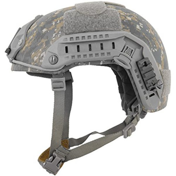 Lancer Tactical Airsoft Helmet 2 Lancer Tactical Medium - Large Industrial ABS Plastic Constructed Maritime Helmet Adjustable Crown 20mm Side Rail Adapter Velcro Padding Stickers NVG Shroud Bungee Retention - Woodland Camouflage
