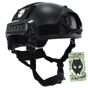 ATAIRSOFT Airsoft Helmet 1 ATAIRSOFT PJ Type Tactical Airsoft Paintball MICH 2001 Helmet with Side Rail & NVG Mount