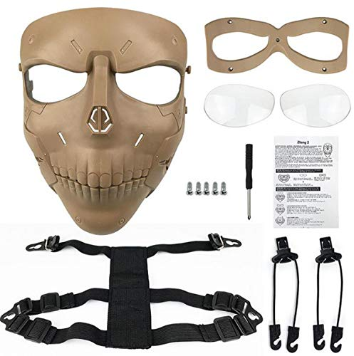 JFFCESTORE Airsoft Mask 6 JFFCESTORE Tactical Mask Anti-Fog Airsoft Paintball mask Protective Full Face Clear Lens Skull mask Dual Mode Wearing Design Adjustable Strap One Size fit Most