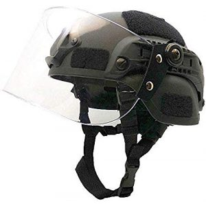 LEJUNJIE Airsoft Helmet 1 LEJUNJIE Tactical MICH 2000 Fast Helmet with Clear Riot Visor Face Shield Sliding Goggles for Airsoft Paintball CS War Games Outdoor Sports.