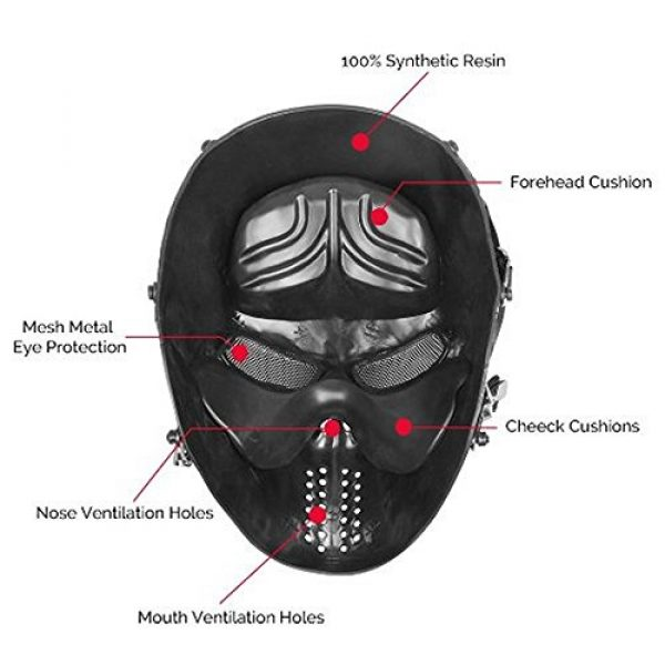 WalkingMan Airsoft Mask 4 WalkingMan Skull Airsoft Wire Masks Full Face Paintball Mask with Metal Mesh Eye Protection for BB Gun/CS Game/Tactical Outdoor Ghost Mask Men - Scary Skeleton Zombie Mask Guy Fawkes