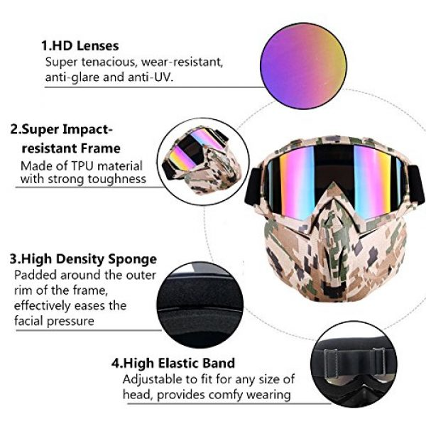Outamateur Airsoft Mask 6 Outamateur Motorcycle Goggles Mask - Tactical Glasses with Detachable Mask Adjustable Windproof Outdoor Paintball Airsoft Mask Face Shield for Kids Youth Men Women