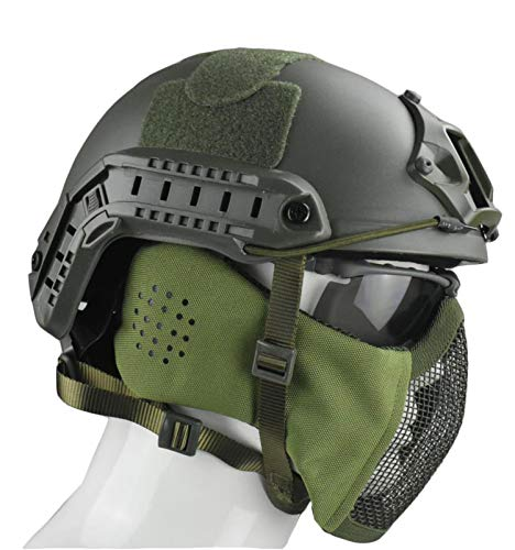 JFFCESTORE Airsoft Helmet 6 Jffcestore MH Updated Version Fast Tactical Helmet Combined with Foldable Half Face Mesh Mask and Goggles for CS Game Set