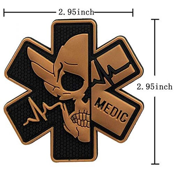 Zhikang68 Airsoft Patch 2 Medic Patch 3D PVC Rubber Paramedic Medical EMS EMT MED First Aid Morale Tactical Morale Skull Military Hook Fasteners Badge (Black Yellow)