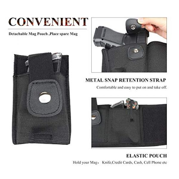 LIVIQILY  2 LIVIQILY Tactical Belly Band Gun Holster Right-Hand Concealed Carry Invisible Elastic Waist Pistol Holster Girdle Belt