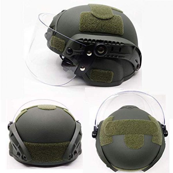 Will Outdoor Airsoft Helmet 5 Lightweight Quick-Protection Helmet Mich 2000 with Anti-Riot Sunshade Sliding Goggles and Side Rail NVG Bracket.