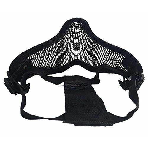 Sizet Airsoft Mask 4 Sizet Airsoft Skull Steel Mesh Half Face Mask Protector (Black)