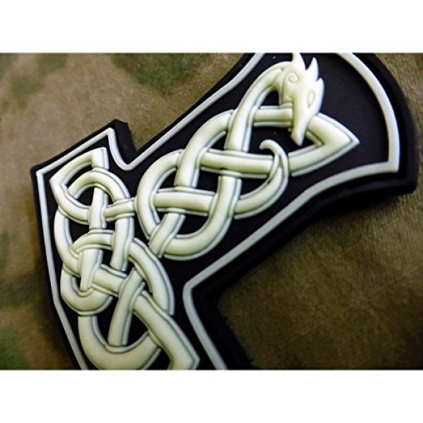 Jackets-to-Go Airsoft Patch 3 Dragon Thors Hammer Airsoft Patch, GID (Glow in The Dark) 3D Rubber