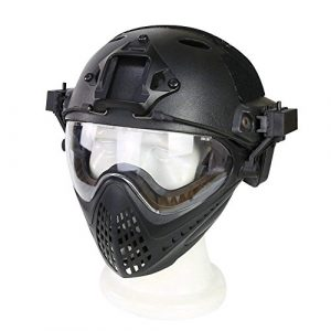 Wildoor Airsoft Helmet 1 Airsoft Helmet Tactical Fast PJ Type with Removable Full Face Mask Goggles for Hunting Shooting CS Game Wargame Military Black