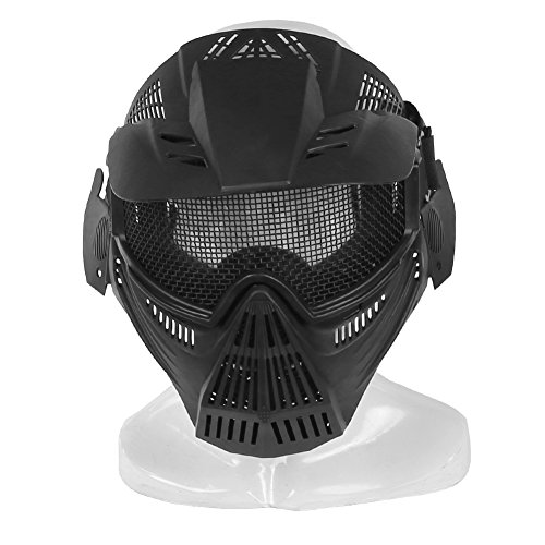 A&N Airsoft Airsoft Mask 4 WoSporT Tactical Transformers Leader Mask Steel Mesh Breathable Full Face Safety CS Field Airsoft Wargame Paintball Army Masks - Black