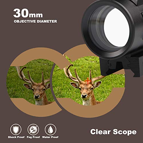 Bumlon Airsoft Gun Sight 3 Bumlon Red Green Dot Sight Rifle Scope Reflex Holographic Optics Tactical Fits 11mm/ 20mm Rail with Flip up Lens Cover for Airsoft Gun