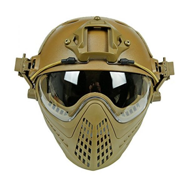 Wildoor Airsoft Helmet 1 Airsoft Tactical Fast PJ Helmet Camouflage with Removable Full Face Mask Goggles for Hunting Shooting Wargame Military