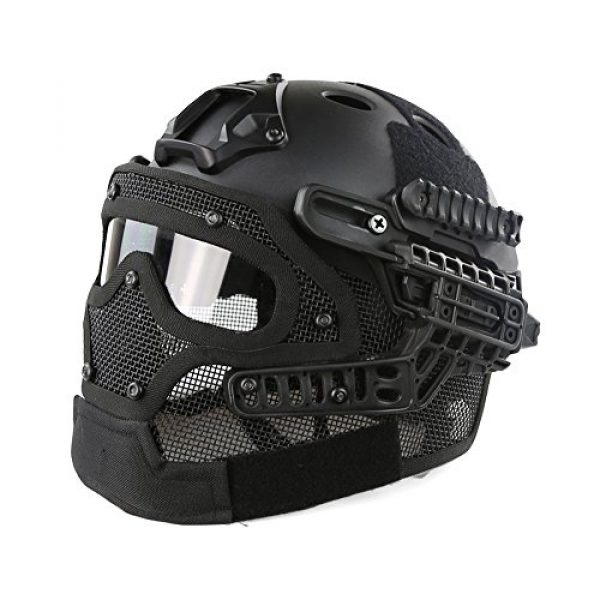 Unknown Airsoft Helmet 1 PJ Fast Tactical Helmet Airsoft Paintball Protective Helmet Full Face Mask Molle Mesh Breathable Goggles for Military CS Paintball Shooting