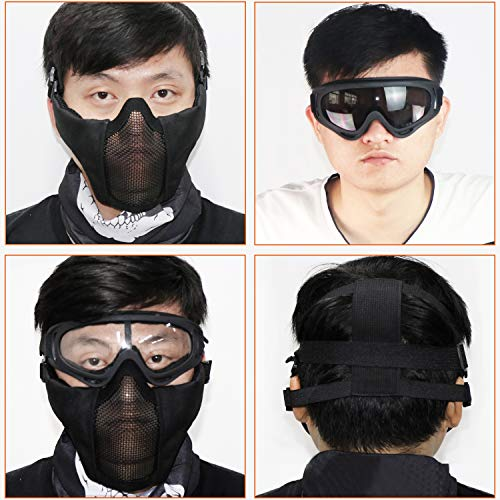 Aoutacc Airsoft Mask 4 Aoutacc Airsoft Half Face Mesh Mask and Goggles Set for CS/Hunting/Paintball/Shooting