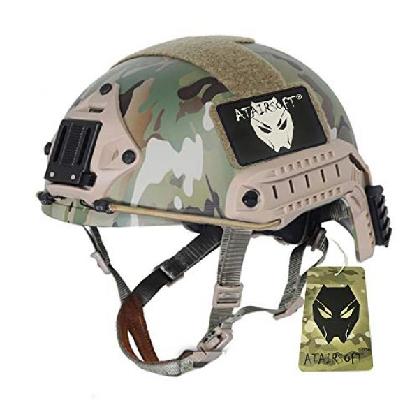 ATAIRSOFT Airsoft Helmet 1 ATAIRSOFT MH Type Tactical Paintball Adjustable Fast Helmet w/Side Rails and NVG Mount Multicam MCˆM/L