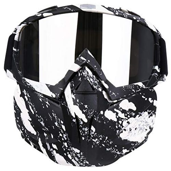PiscatorZone Airsoft Mask 1 PiscatorZone Motorcycle Goggles Mask CS/Paintball/Skiing/Riding/Cycling/Halloween/Costume Ball-UV Proof Windproof Anti-Fog Protective Detachable Adjustable Tactical Glasses