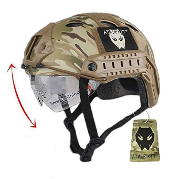 ATAIRSOFT Airsoft Helmet 1 ATAIRSOFT PJ Type Tactical Fast Helmet w/Protective Goggles Version Multicam
