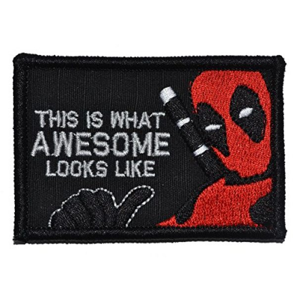 Tactical Gear Junkie Airsoft Patch 1 This is What Awesome Looks Like, Deadpool Parody - 2x3 Morale Patch - Black