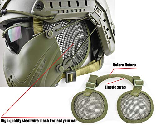 JFFCESTORE Airsoft Helmet 6 Tactical Airsoft Military Paintball Metal Mesh Side Cover with Ear Protection for FAST Helmet (Not including helmet)