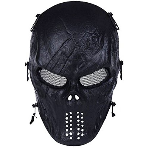 WalkingMan Airsoft Mask 2 WalkingMan Skull Airsoft Wire Masks Full Face Paintball Mask with Metal Mesh Eye Protection for BB Gun/CS Game/Tactical Outdoor Ghost Mask Men - Scary Skeleton Zombie Mask Guy Fawkes