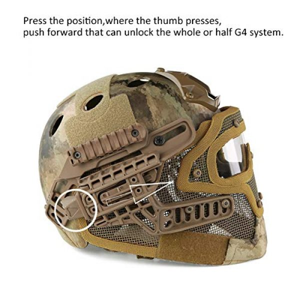ActionUnion Airsoft Helmet 5 ActionUnion PJ Fast Tactical Helmet Airsoft Full Face Mask with Goggles Molle Mesh Breathable Eye Protection for Military CS Paintball Shooting Hunting Cycling Motorcycle Outdoor Sport-at