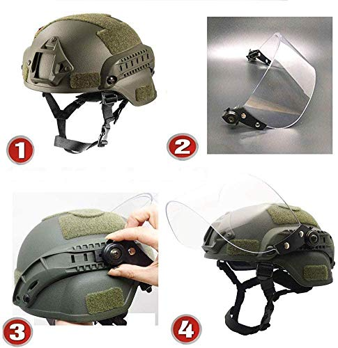 LEJUNJIE Airsoft Helmet 3 LEJUNJIE Tactical MICH 2000 Fast Helmet with Clear Riot Visor Face Shield Sliding Goggles for Airsoft Paintball CS War Games Outdoor Sports.