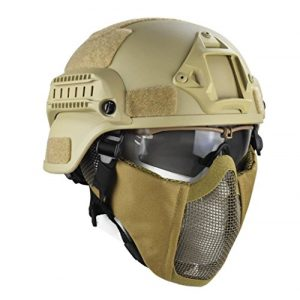 Jadedragon Airsoft Helmet 1 Jadedragon MICH 2000 Style ACH Tactical Helmet with Protect Ear Foldable Double Straps Half Face Mesh Mask & Goggle