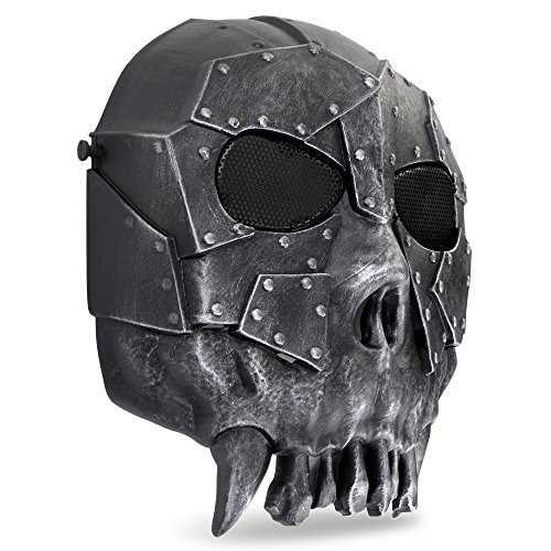 Flexzion Airsoft Mask 2 Flexzion Tactical Airsoft Mask Paintball Game Full Face Protection Skull Skeleton Safety Guard in Silver for Outdoor Activity Party Movie Props Fit Most Adult Men Women