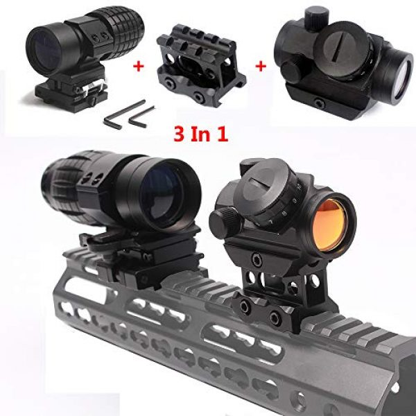 Robin Hunting Airsoft Gun Sight 2 Robin Hunting Tactical Micro Reflex Red Dot Sight + 3X Magnifier Scope with Quick Detach Flip to Side + 3 Slots Riser Mount Adapter Combo Kit for Hunting Shooting