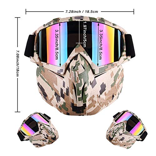 Outamateur Airsoft Mask 2 Outamateur Motorcycle Goggles Mask - Tactical Glasses with Detachable Mask Adjustable Windproof Outdoor Paintball Airsoft Mask Face Shield for Kids Youth Men Women