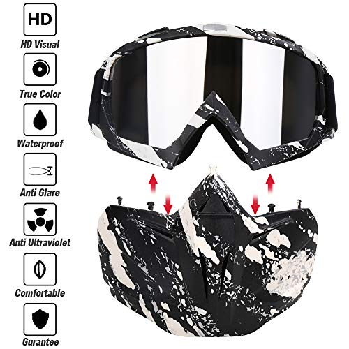 PiscatorZone Airsoft Mask 2 PiscatorZone Motorcycle Goggles Mask CS/Paintball/Skiing/Riding/Cycling/Halloween/Costume Ball-UV Proof Windproof Anti-Fog Protective Detachable Adjustable Tactical Glasses