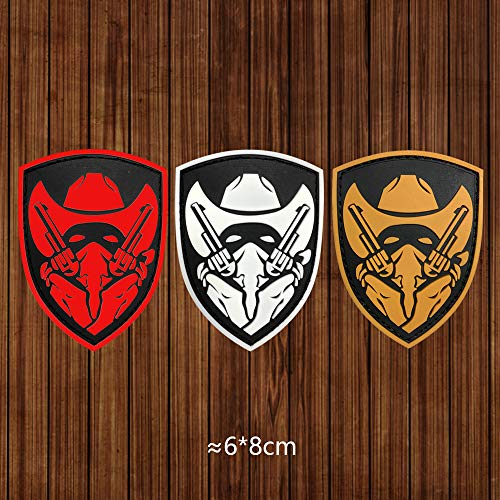 Morton Home Airsoft Patch 4 Morton Home Masked Cowboy Gunfighter Tactical Army Morale Airsoft 3D PVC Patch (Yellow)