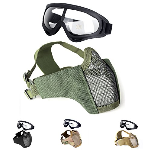 Unigear Airsoft Mask 1 Unigear Half Face Lower Mask Foldable Mesh Adjustable Tactical Metal Steel Mask for Airsoft/Hunting/Paintball/Shooting