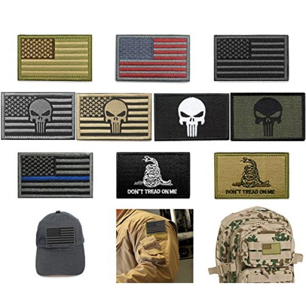 Fnbgl Airsoft Patch 1 Bundle 10 Pieces US Flag Velcro Patch American Flag Punisher Velcro Patches Tactical Military Morale Patch Set