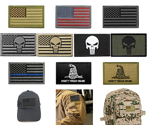Bundle 10 Pieces US Flag Velcro Patch American Flag Punisher Velcro Patches  Tactical Military Morale Patch Set - High Speed BBs