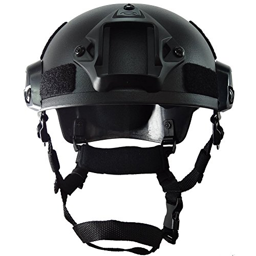 ATAIRSOFT Airsoft Helmet 4 ATAIRSOFT PJ Type Tactical Airsoft Paintball MICH 2001 Helmet with Side Rail & NVG Mount