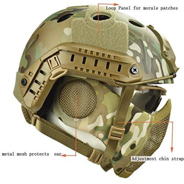 Jadedragon Airsoft Helmet 3 Jadedragon PJ Tactical Fast Helmet & Protect Ear Foldable Double Straps Half Face Mesh Mask & Goggle