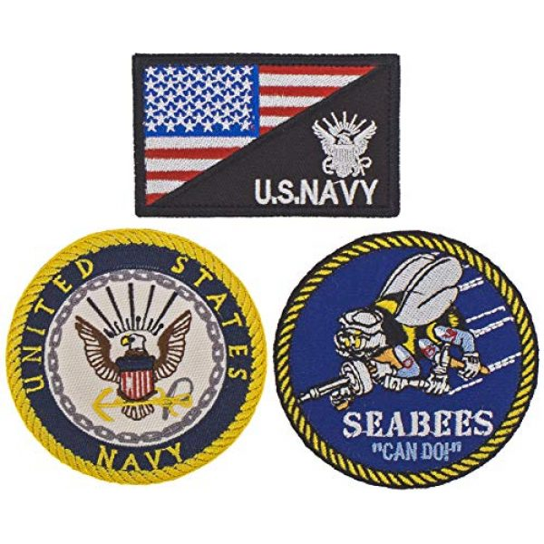 USA Team Airsoft Patch 1 Set of 3 Patch Navy United States Patches Hook & Loop American Flag Patch US Navy Hat Military Tactical Morale Badge USA Army Seabees Patch