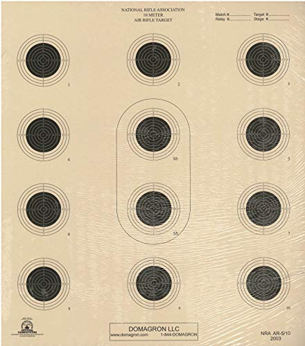 DOMAGRON Airsoft Target 1 DOMAGRON 10 Meter 12 Bullseye Air Rifle Target Official NRA Target AR5/10