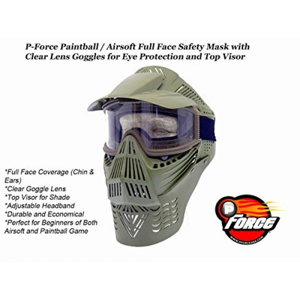 PForce Airsoft Mask 2 PForce Paintball & Airsoft Full Face Safety Mask with Clear Lens Goggles for Eye Protection Top Visor Tactical Gear
