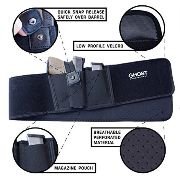 Ghost Concealment  2 Ghost Concealment Belly Band Holster for Concealed Carry   IWB Gun Holsters   Men and Women