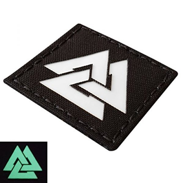 Tactical Freaky Airsoft Morale Patch 2 Glow Dark Viking Valknut Norse 2x2 GITD Tactical Morale Fastener Patch