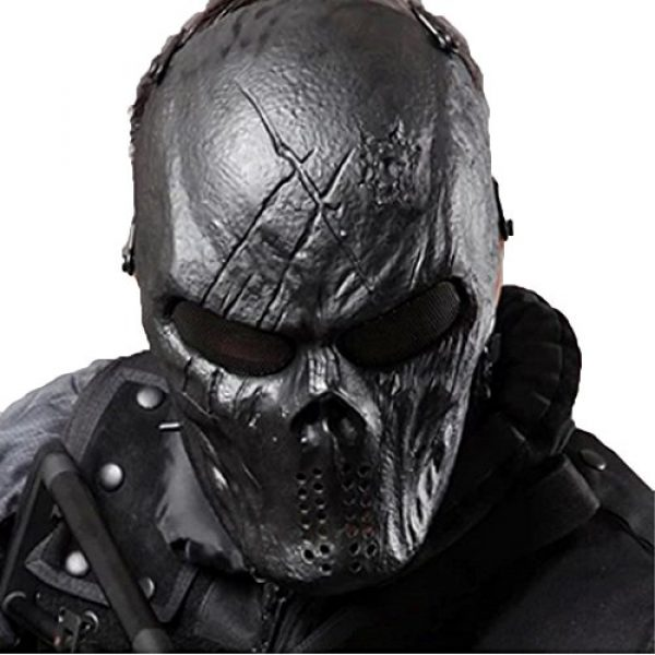 WalkingMan Airsoft Mask 1 WalkingMan Skull Airsoft Wire Masks Full Face Paintball Mask with Metal Mesh Eye Protection for BB Gun/CS Game/Tactical Outdoor Ghost Mask Men - Scary Skeleton Zombie Mask Guy Fawkes