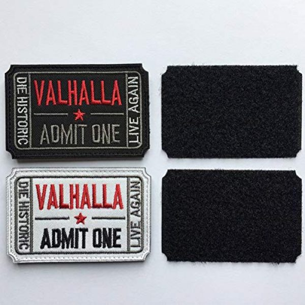 Homeigo Airsoft Patch 4 Homiego Ticket to Valhalla Admit One Die Historic Live Again Tactical Morale Badge Hook & Loop Patch (Black)